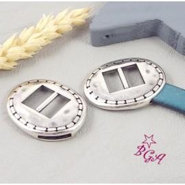 Embout fermoir ovale ethnique plaque argent pour cuir plat 10mm