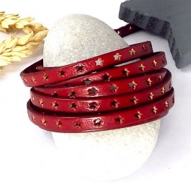 cuir plat 6mm perfore etoiles rouge flamme