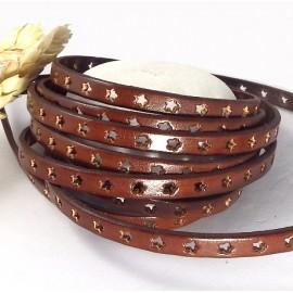 Cuir plat 6mm perfore etoiles marron haute qualite