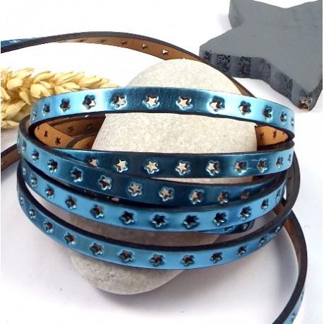 cuir plat 6mm metallise perfore etoiles bleu azur haute qualite