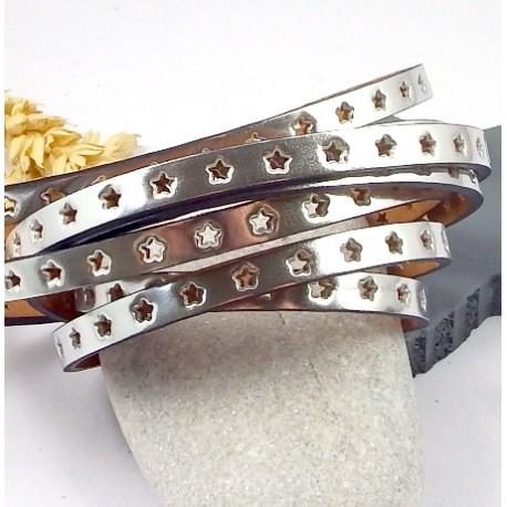 cuir plat 6mm metallise perfore etoiles argent haute qualite