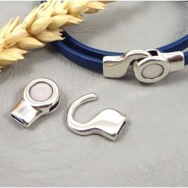 fermoir crochet rond plaque argent pour cuir plat 5 mm