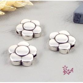 Fermoir magnetique fleur plaque argent pour cuir plat 5 a 6 mm