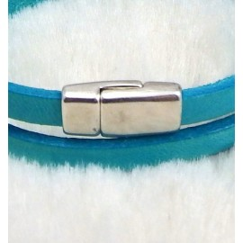 Petit fermoir magnetique plaque argent pour cuir plat 5mm