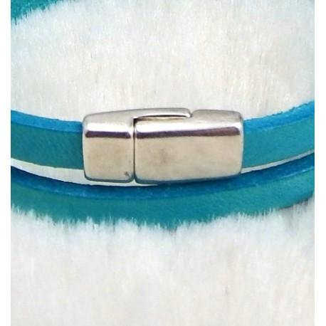 petit fermoir magnetique argente pour cuir plat 5mm