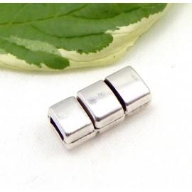 Fermoir magnetique 3 bandes plaque argent pour cuir 5mm