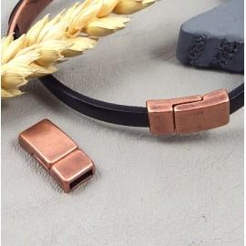 Fermoir magnetique plat zamak cuivre pour cuir 5mm
