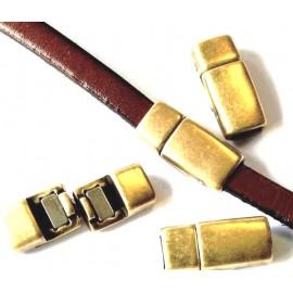 Fermoir magnetique bronze tres plat pour cuir plat 5mm