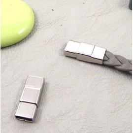 Fermoir magnetique acier inoxydable pour cuir plat 5 et 6mm
