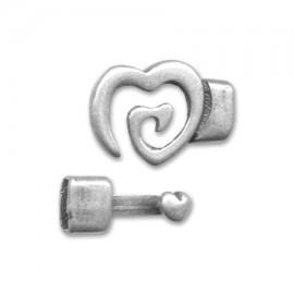 Fermoir coeur pour cuir 5mm plaque argent