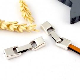 fermoir clip zamak plaque argent pour cuir 5mm