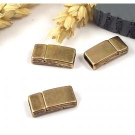 1 Fermoir magnetique plat bronze pour cuir 5mm