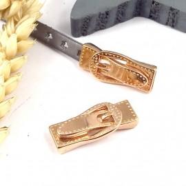 1 fermoir magnetique ceinture surpiquee or rose pour cuir plat 5 a 7mm
