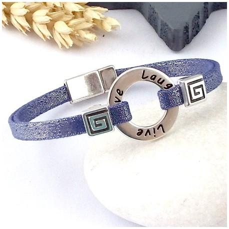 Kit tutoriel bracelet lame violet voeux perles et fermoir zamak plaque argent