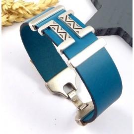 Kit tutoriel bracelet cuir turquoise geometrique boho et plaque argent