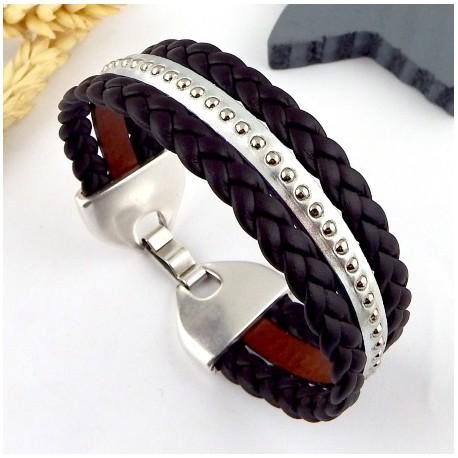 Kit tutoriel bracelet cuir tresse marron et billes argent