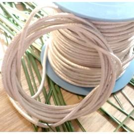 Cordon cuir rond ivoire metal 2mm