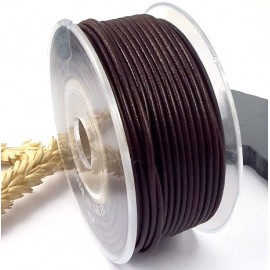 Cordon cuir rond marron fonce 2mm
