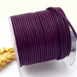 Cordon cuir rond violet 2mm