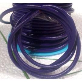 Cordon cuir rond violet 4mm par 20CM