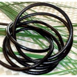 Cordon cuir rond noir 4mm par 20cm
