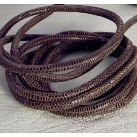 cordon cuir rond nappa haute qualite marron paillete 4mm par 20cm