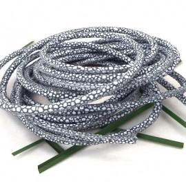 cordon cuir rond nappa haute qualite gris et blanc 4mm par 20cm
