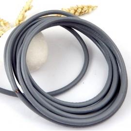 Cordon cuir rond gris 4mm par 20cm