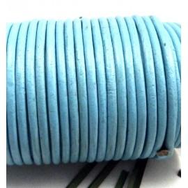 Cordon cuir rond bleu ciel 4mm par 20 cm