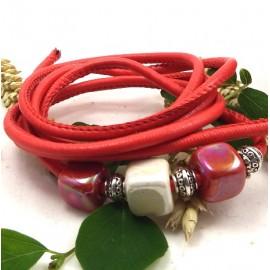 cordon cuir PU style nappa couture rouge 4mm par 20cm