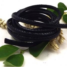 cordon cuir PU style nappa couture noir 4mm par 20cm