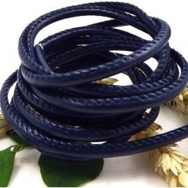 cordon cuir PU style nappa couture bleu marine 4mm par 20cm