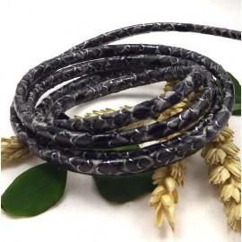 cordon cuir PU style nappa couture serpent gris 4mm par 20cm