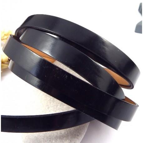 RARE cuir plat vernis noir 10mm