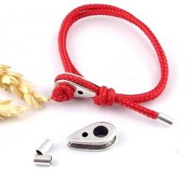fermoir support noeud marin plaque argent avec embouts pour cordon 3mm