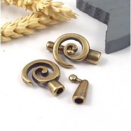 fermoir spirale zamak bronze pour cuir rond 4mm