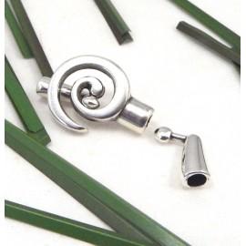 fermoir spirale plaque argent pour cuir rond 4mm