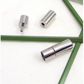 fermoir pression tres resistant couleur inox pour cuir rond 5mm