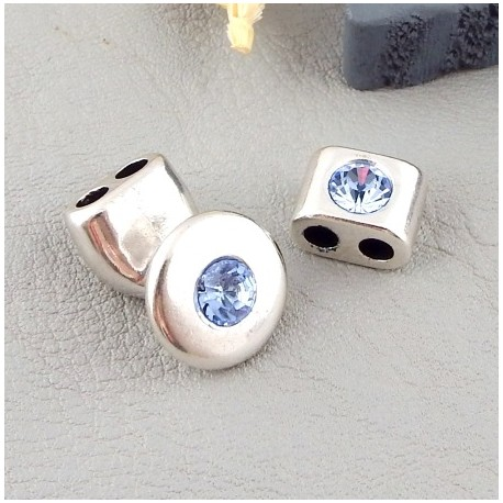 embout fermoir et bloquant zamak et cristal swarovski light saphir pour cuir rond 3mm