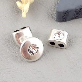 Embout fermoir et bloquant zamak et cristal swarovski cristal pour cuir rond 3mm