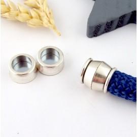 fermoir magnetique plaque argent pour cordon rond 10mm