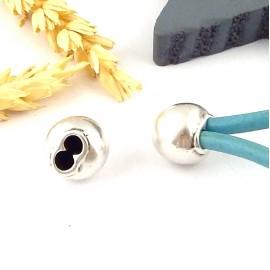 embout fermoir zamak boule plaque argent pour cuir rond 3mm