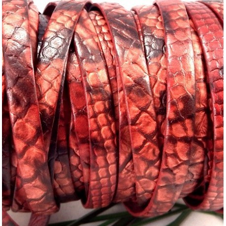 cuir plat 10mm grave serpent rouge et marron par 20 cm