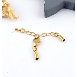 fermoir embout rond dore avec chainette de rallonge pour cuir 2mm