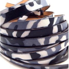 Cuir plat 10mm imprime camouflage noir gris et blanc