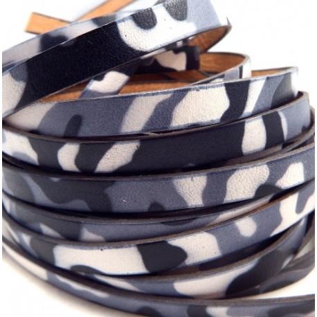 cuir plat 10mm imprime camouflage noir gris et blanc par 20 cm