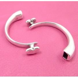 Demi bracelet jonc metal argente coeur pour cuir rond ou plat int 9x3.5mm
