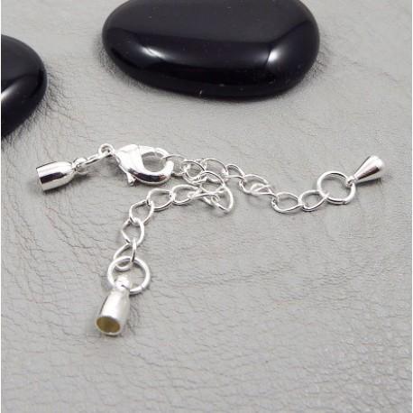 embout fermoir argente avec mousqueton et chainette pour cuir 3mm