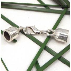 Embout fermoir mousqueton en metal argente pour cuir 8mm