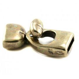 Fermoir crochet bronze zamak pour cuir 10mm